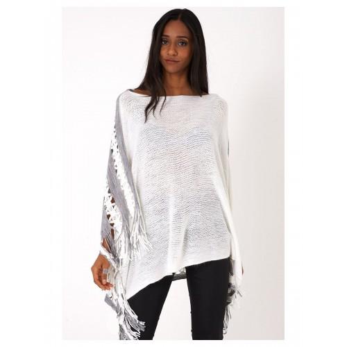 White Crochet Knit Poncho