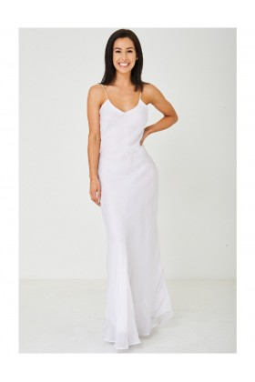 White Fishtail Maxi Party Dress Evening Gown
