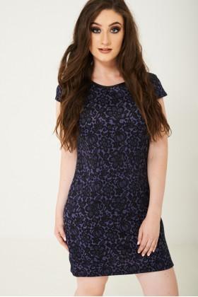Black Lace Print Mini Dress