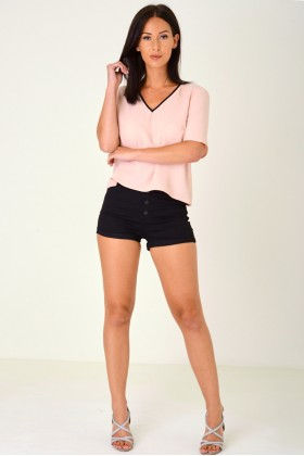 Black High Waisted Shorts with Exposed Button Fly