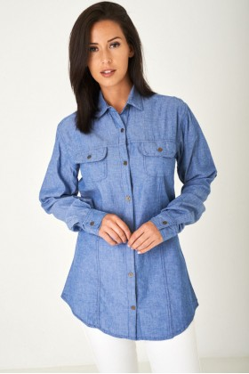 Longline Denim Look Blue Shirt