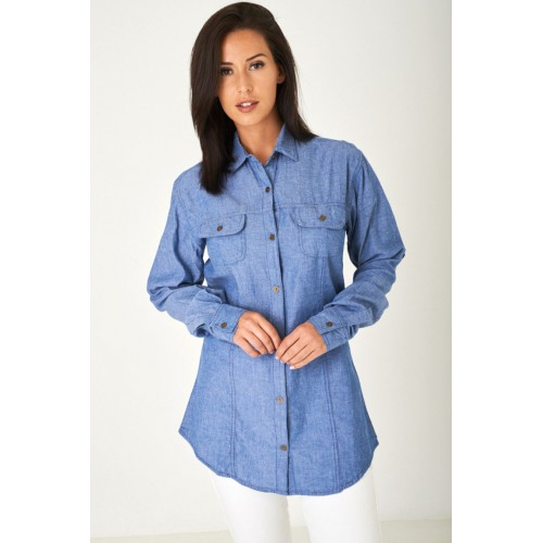 Longline Denim Look Blue Shirt