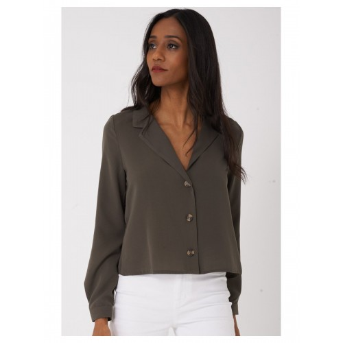 Cropped Shirt Pointed Collar in Khaki