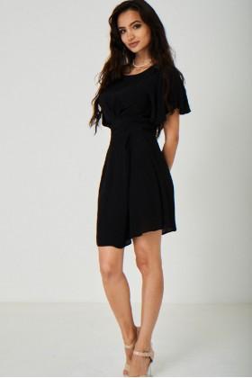 Black Satin Skater Dress