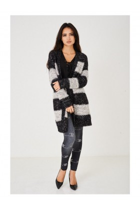 Ladies Long Fluffy Cardigan with Stripes