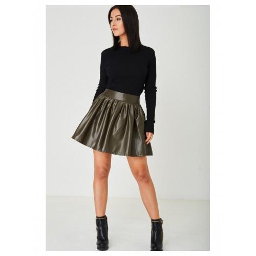 Faux Leather Khaki Mini Skater Skirt
