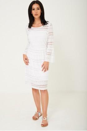 White Lace Detail Midi Dress