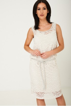 Lace Midi Dress in Cream