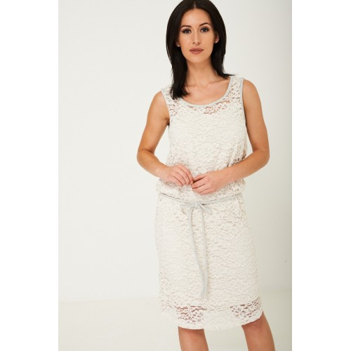 Lace Midi Dress in Cream
