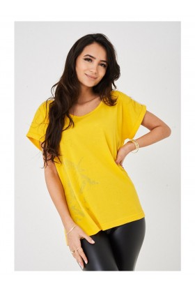 Women's Distressed Detail Yellow Top