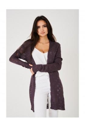 Purple Cardigan Burnout Long Knitted