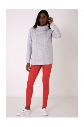 Roll Neck Grey Jumper in Cable Knit