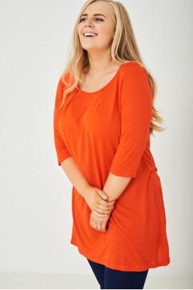 Long Bright Orange Tunic Top
