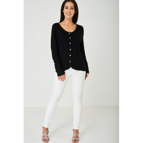 Ladies Black Cardigan Button Down Front