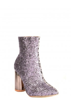 Two Faced Glitter Ankle Boots in Silver