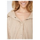Beige Chunky Cable Knit Poncho