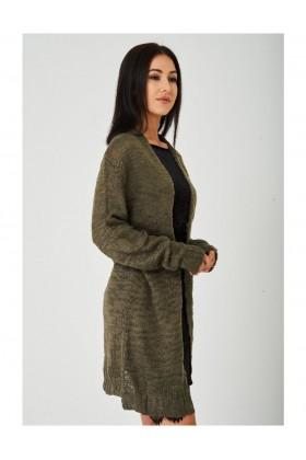 Khaki Burnout Knit Cardigan