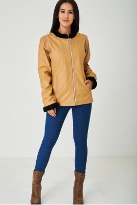 Ladies Camel Faux Leather Jacket