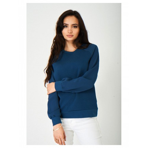 Ladies Quilted Blue Jumper Lightweight