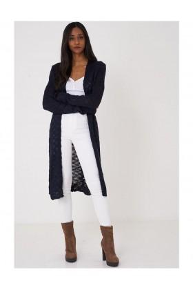 Navy Burnout Knit Cardigan