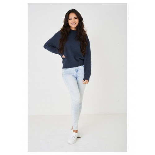 Ladies Navy Textured  Jumper