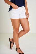 Off White Braid Detail Denim Shorts