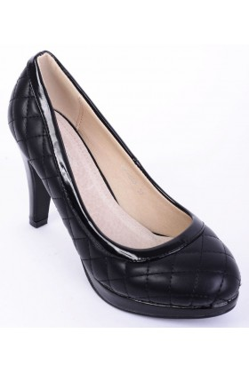 Quilted Black High Heel Shoes Almond Toe