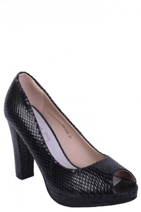 Black Snakeskin Peep Toe High Heels