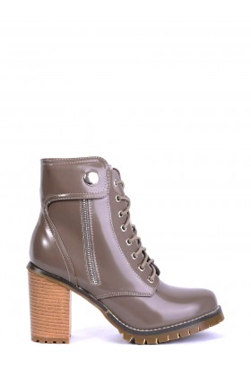 Patent Ankle Boots in Khaki