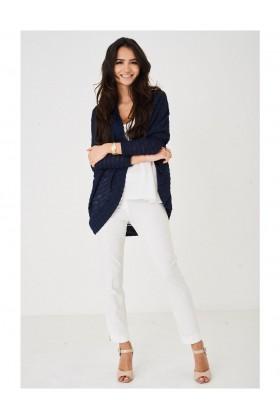 Ladies Burnout Knit Navy Cardigan