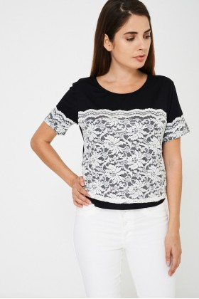 Lace Detail Top in Black