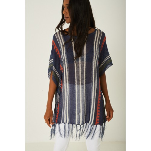 Blue Knitted Tassel Hem Cover Up