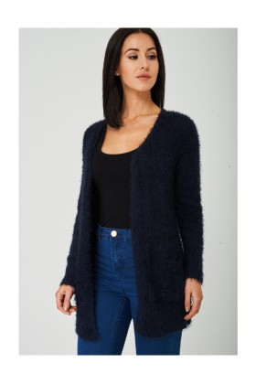 Fluffy Navy Cardigan Open Front