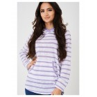 Ladies Hooded Jumper in Purple Stripes
