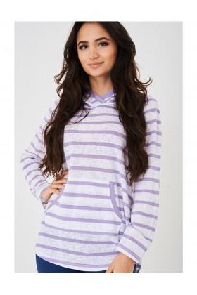 Ladies Hooded Jumper in Purple Stripes