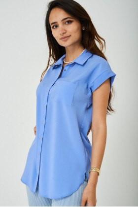 Longline Shirt in Pastel Blue