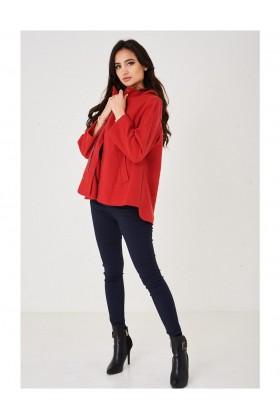 Ladies Hooded Jacket in Red