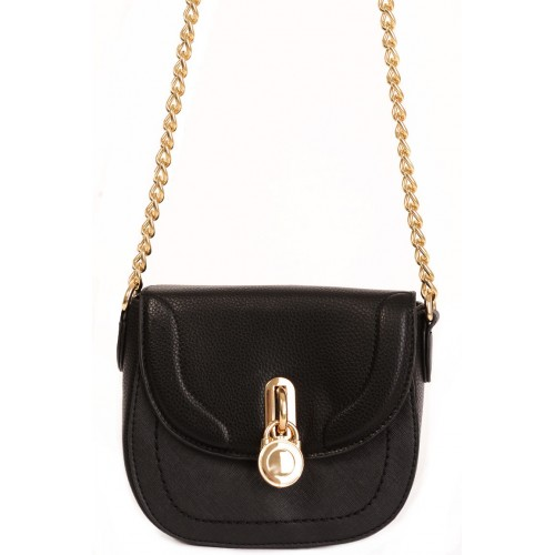 Black Faux Leather Bag with Lock Detail