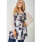 Plus Size Sheer Wide Sleeve Tunic Top