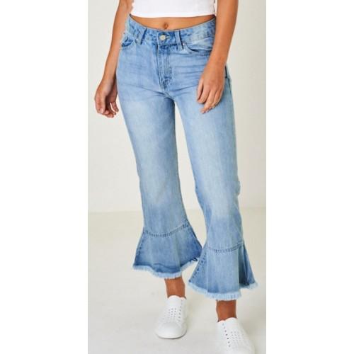 Flute Hem Cropped 3/4 Blue Jeans