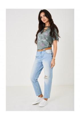 Ladies Distressed Blue Jeans