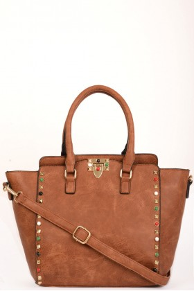 Faux Leather Studded Trapeze Bag in Brown