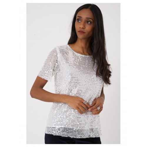 Sequin Embellished Lace Top in White