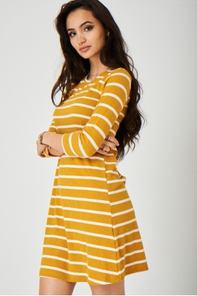 Yellow Dress in Stripes 3/4 Sleeve