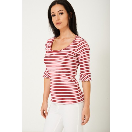 Stretch Striped Jersey Top T-Shirt