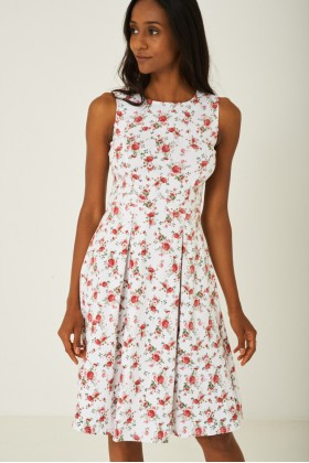 White Skater Dress with Pleat Detail