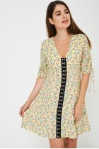 Yellow Sun Dress In Vintage Floral