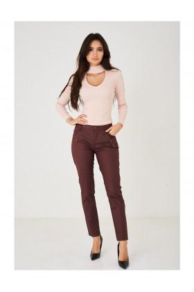 Ladies Burgundy Straight Leg Trousers