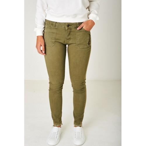 Khaki Jeans with Raw Hem
