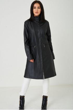 Black Long Faux Leather Jacket